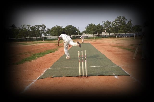 Cricket in Tamil Nadu - Bowler and Batsman in action