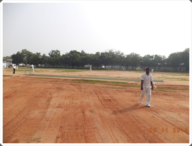 TTRC-CCC Players taking field during the first innings