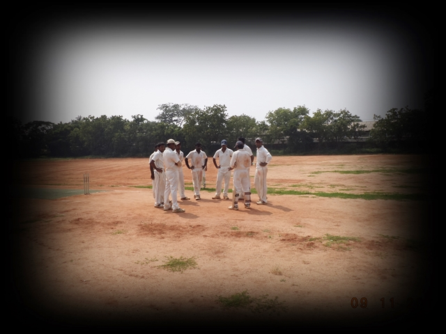 TTRC-CCC Players at the end of the first innings